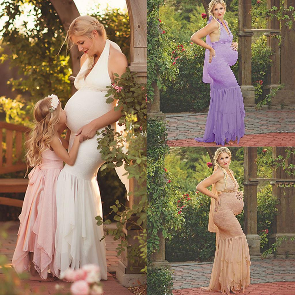 Maternity Dresses Women Pregnants Sexy Photography Props Hanging Neck Lace Nursing Long Dress Robe Grossesse Plus Size Dresses