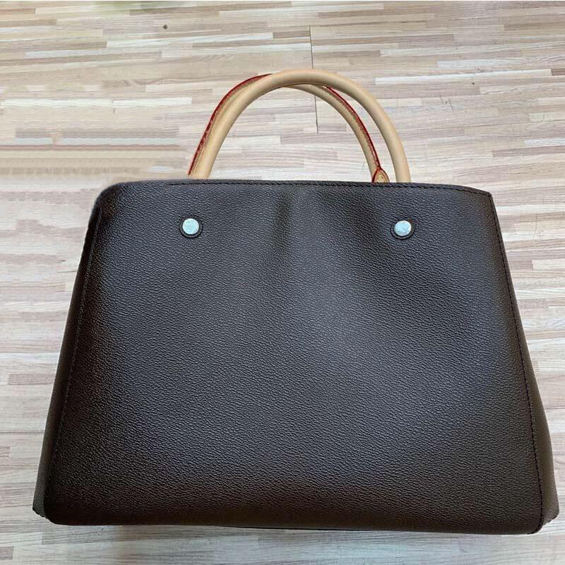 Le donne Tote Borse a tracolla in pelle borsa marrone Flower Stampa Borse Crossbody Bag grande shopper computer portatile di affari