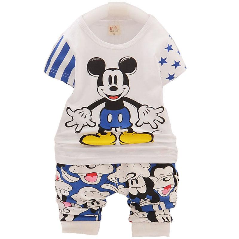 New Summer Children Boy Girls Clothing Sets Baby Cotton Clothes Kids Catoon T-Shirt Sleeve Shorts 2pcs/sets Infant Tracksuits