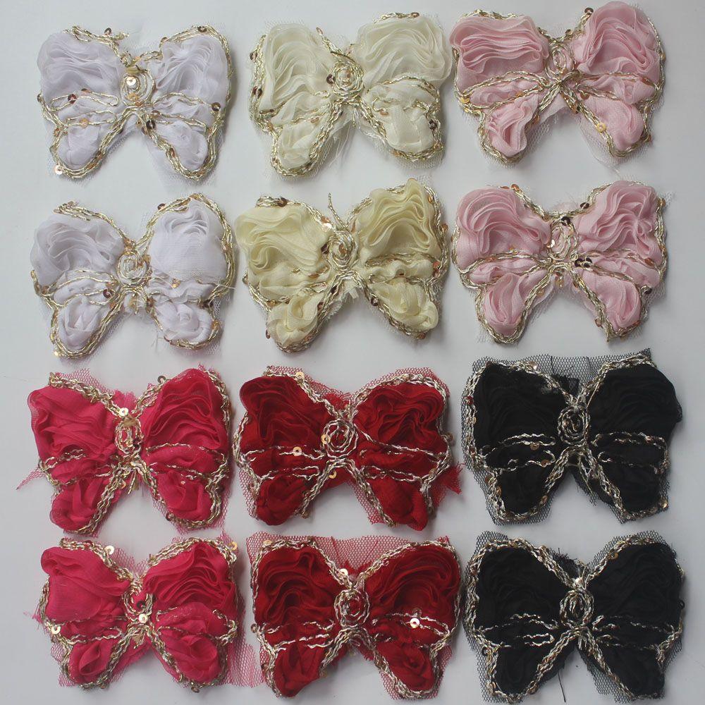 5y / 60pcs 9cm şifon kızlar saç aksesuarları, bebek saç tokası saç bandı çiçekler için şifon yay, saç yay çiçekler için kumaş yay çiçek Döşeme