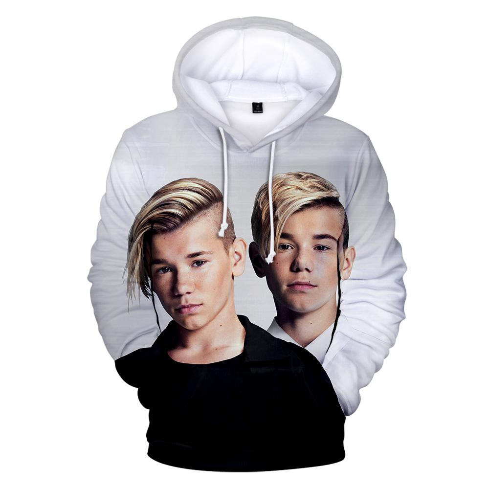 New White 3D Hoodie MARCUS&MARTINUS Singer Famous Twins Fans Music Mix Fashion Brand Sweatshirts Sportwear Cool Young People