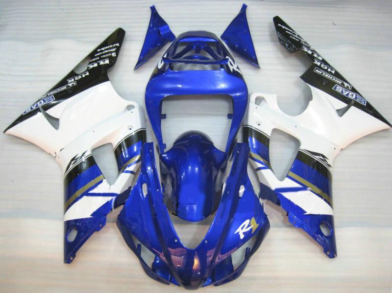 ABS weiß blau Verkleidungskit für YAMAHA YZF R1 98 99 YZFR1 1998 1999 YZF-R1 YZF 1000 R1 Verkleidungsset + Geschenke