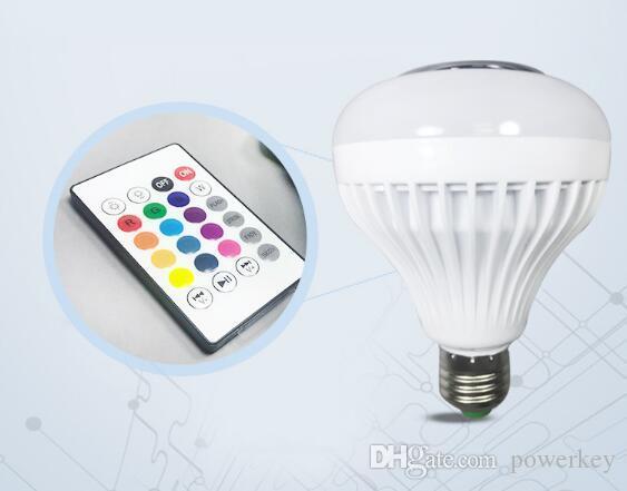 Hot sale popular multi colors displaying 12W E27 RGB+White music lead light bulb colorful led dance water speaker light bulb