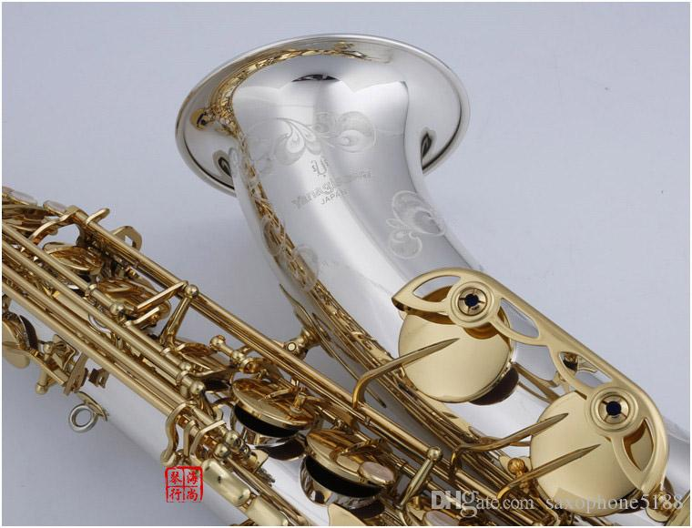 ياناجيساوا WO37 جديد وصول تينور ساكسفون bb لحن الآلات الموسيقية الفضة مطلي الجسم الذهب ورنيش مفتاح ساكس مع حالة المعبرة