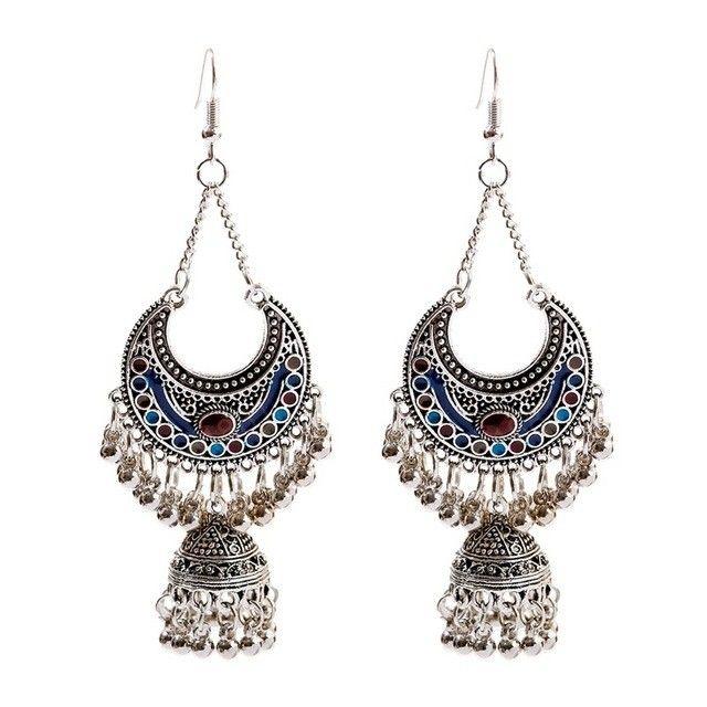 1.81 Amazonite Oval Earrings  Designer Half Moon Gold Earrings  Gemstone Earrings  Ethnic Tribal Boho  Gift Idea  Select Color  BE40