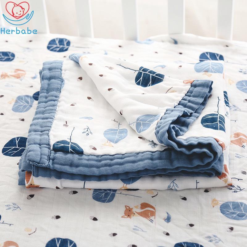 Herbabe младенец Муслин Одеяло хлопок Пеленального Прием Одеяла для новорожденных детей 47 «x47» Wrap младенца Коляски Обложки Play Mat Y200109