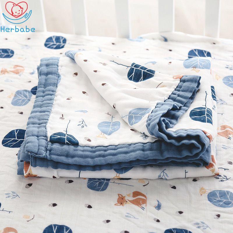 """Herbabe bebé muselina manta de algodón de empañar Recepción de mantas para los niños recién nacido 47 """"x47"""" Wrap infantil para niños Cochecito cubierta estera del juego Y200109"""