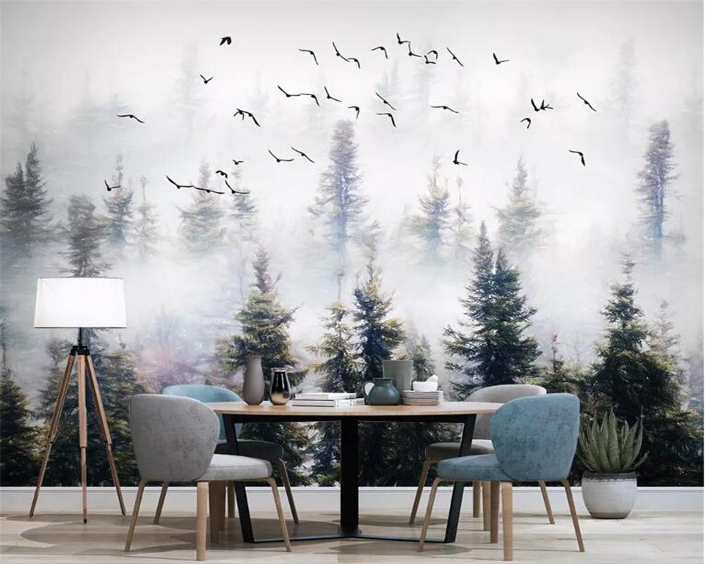Beibehang personalizzato grande 3d carta da parati murale natura foresta della nube di uccelli sfondo parete dipinta a mano pittura 3D Wallpaper