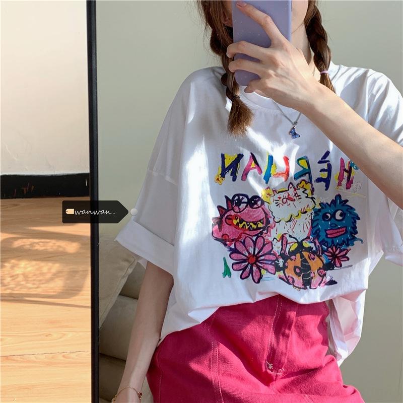 verão Ruiyifan New perder todo-match grafite pullover t-shirt impressão pullover pescoço T-shirt curto rodada de banda desenhada manga para mulheres xxDbP