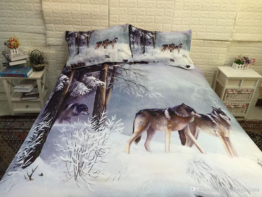 Lifelike Imprimé Literie Ensemble Reine Taille Snow Wolf 3D Housse De Couette King Home Textile Double Simple Lit Couverture avec Taie D'oreiller
