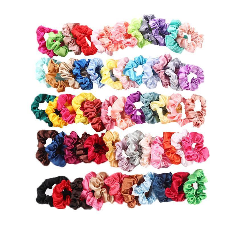 حر dhl 60 ألوان الصلبة الفتيات الساتان مرونة scrunchie scrunchy رئيس الفرقة ذيل حصان hairbands حبل اكسسوارات للشعر بالجملة