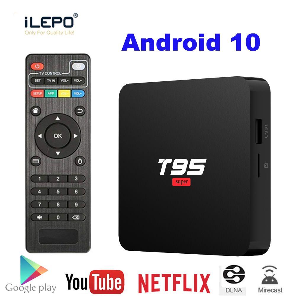 T95 super Android OS 10.0 4k 2.4GHz Wifi Smart TV Box Allwinner H3 2 Go de RAM 16 Go ROM HD OTT Media Player