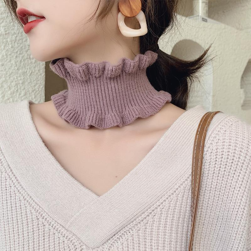 2020 New Womens Winter Red Black Thick Knit Ring Scarf Tube Neck Warmers Women Elastic Hair Headband Scarfs for Ladies Foulard T200615
