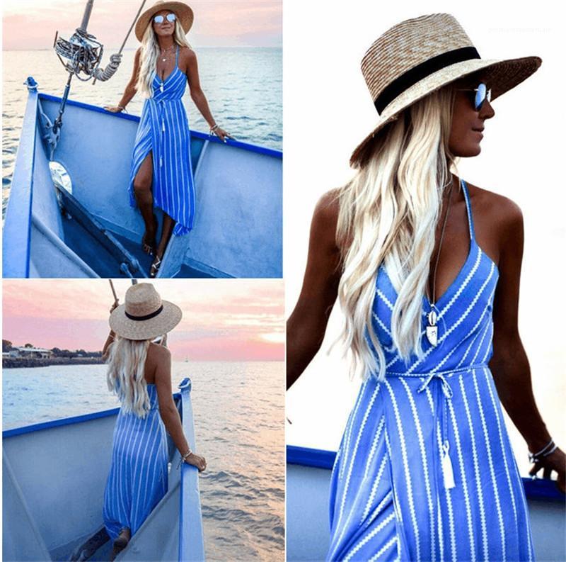 Vestidos sexy V vestidos de cuello con los marcos de la raya de las mujeres Impreso asimétrica vestidos de la manera de la correa de espagueti sin respaldo