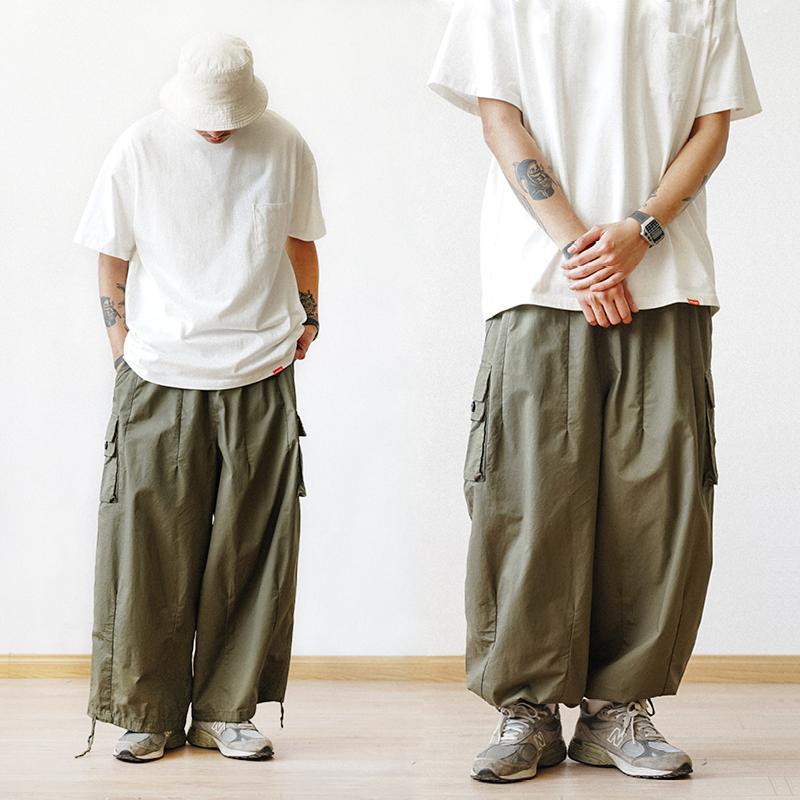 Pantaloni multi-tasca cargo casuale colore solido dritto pantaloni larghi Wide-gamba corta Uomini Caviglia-lunghezza Uomo