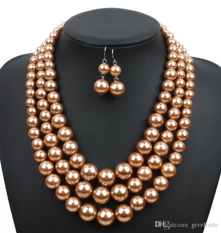Fashion Femmes Multicouche Résine Choker Collier de perles boucles d/'oreilles Bijoux Set