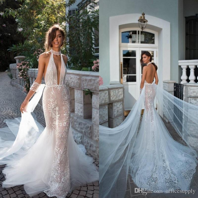 2019 새로운 인어 웨딩 드레스 홀터넥 레이스 아플리크 Sexy Backless Bohemian Out Out 섹시한 환상 Boho Bridal Gowns