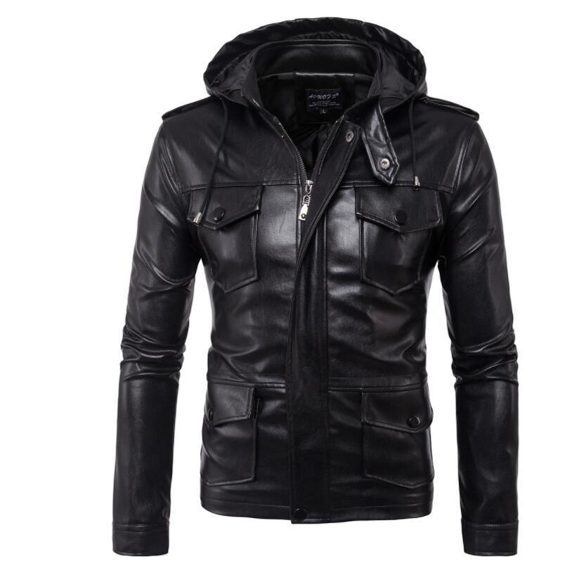 Giacca in pelle con cappuccio da uomo cappotto da moto slim Giacche multi-tasca abbigliamento uomo personalizzato stage street fashion autunno nero