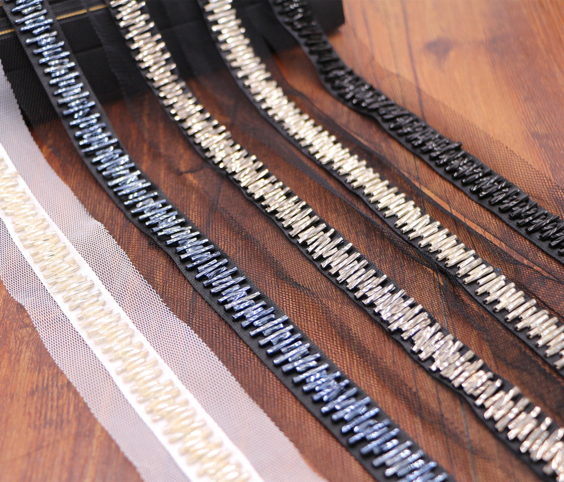 Tela decorativa vestido de novia de la cinta Pasamanería MeeTee perla de cuentas de encaje de ajustes del acoplamiento del cordón del cuello de encaje apliques DIY Crafts RC105