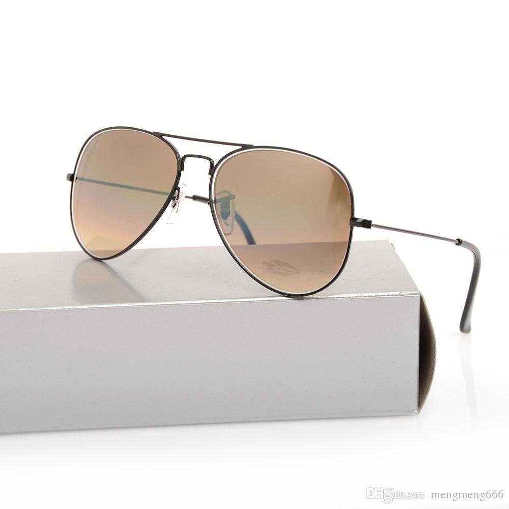 Clásico piloto hombre degradado degradado de la marca de la lente de la lente de la lente del diseñador Original 58mm Casas de sol degradado Gafas de gafas con gafas de sol Glas Oloj