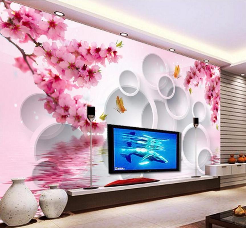 CJSIR пользовательские фото обои росписи стикер стены мечта сливы цветок 3D телевизор фон papel де parede обои для стен 3 д