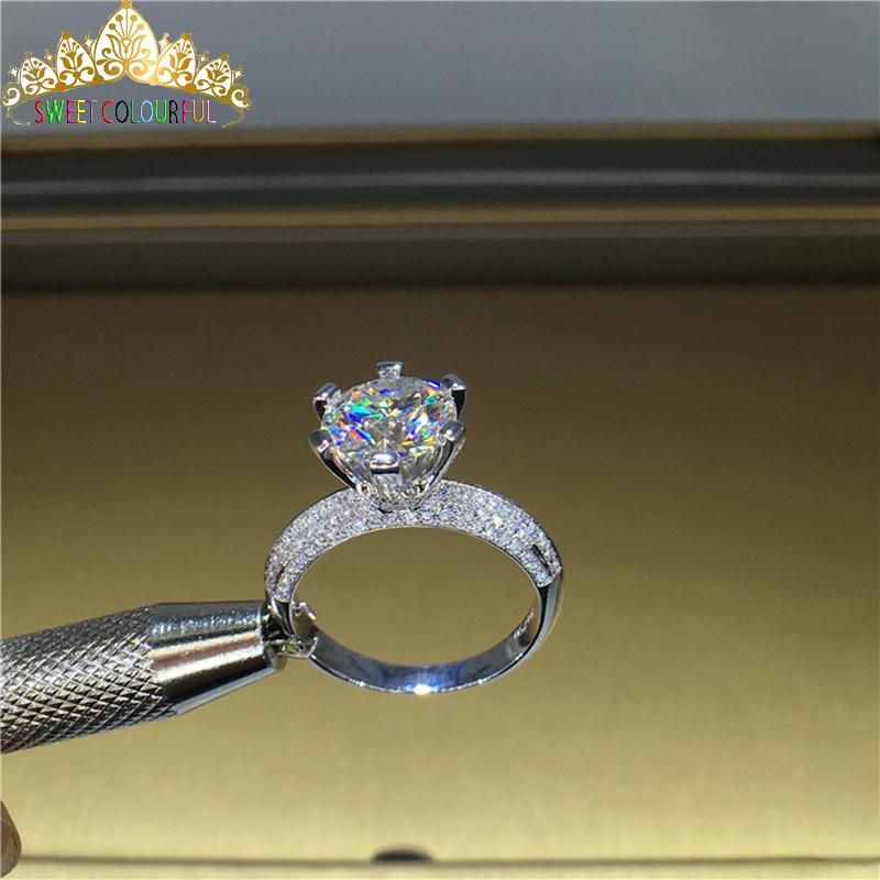 100% 18K 750Au Gold Moissanite Diamond Ring D color VVS With national certificate MO-00108 T200701