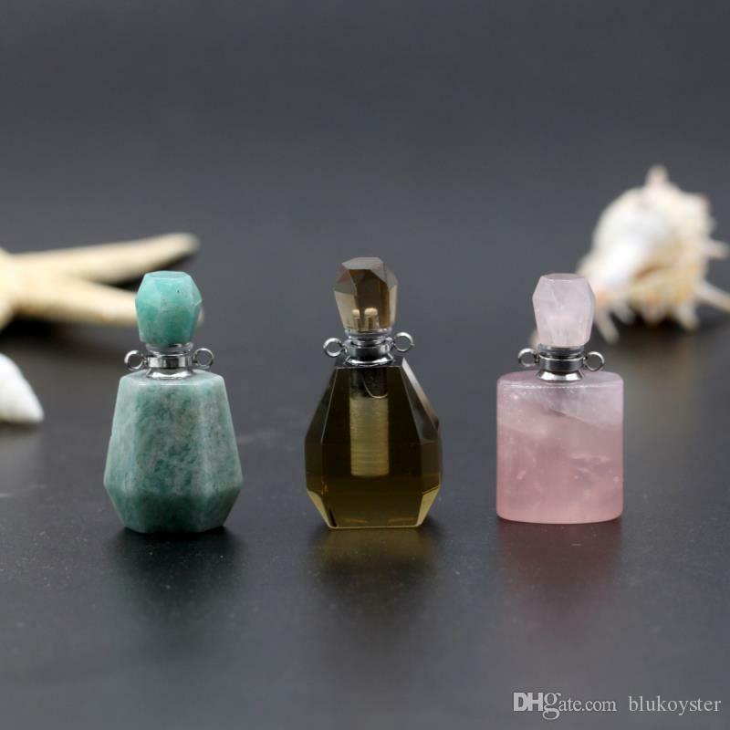الطبيعية حجر قلادة زجاجة عطر قلادة الأحجار الكريمة 18 * 35MM الحب الرغبات نمط قلادة مجوهرات للهدايا حزب