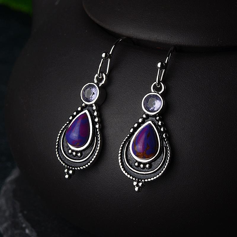 Retro Court Style Purple Water Drop Shape Stone Dangle Earrings for Women Fashion Vintage Inlaid Zircon Drop Earrings Jewelry