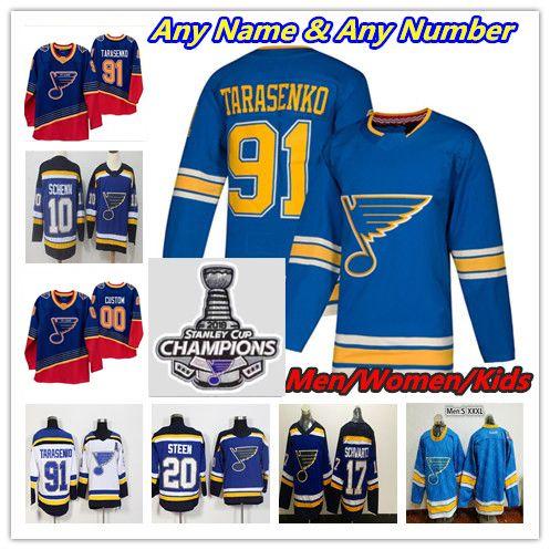 2019 St. Louis Blues 90s Retro Champions Hockey Jersey Vladimir Tarasenko Ryan OReilly Binnington Alex Pietrangelo Jaden Schwartz Parayko