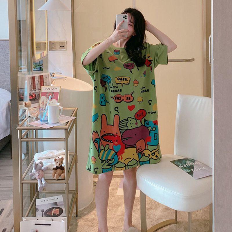 Surdimensionnée été Loose Women Cartoon vêtements de nuit Loisirs manches courtes mince Nightgowns Fruits impression Big Taille Chemise de nuit