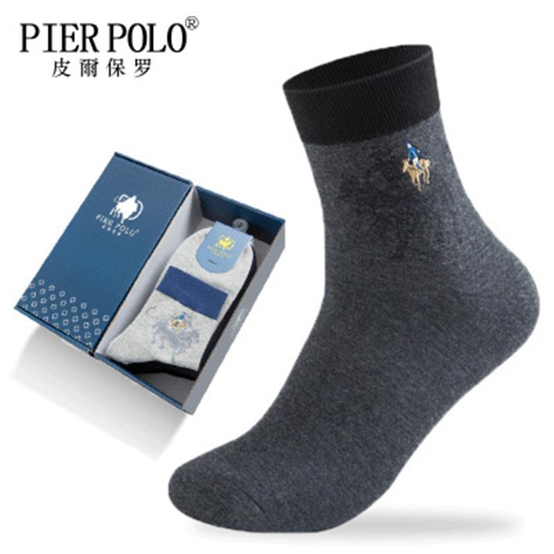 새로운 5 쌍 선물 상자 PIER POLO 항균 및 냄새 방지 봄과 겨울 양말은 100 %면 남성 땀 흡수 양말입니다