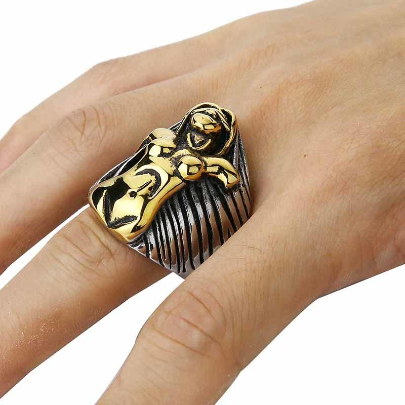 Valily Jewelry Men's Large Heavy Stainless Steel Ring Silver Black Angel Godness Vintage Biker Ring For Men Vintage band rings