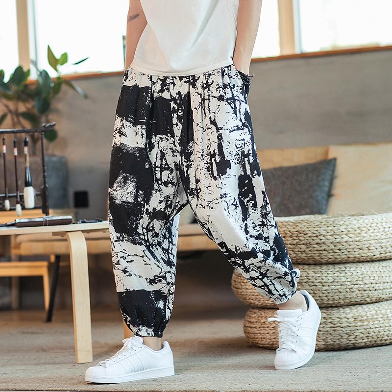 Мужчины шаровары Joggers Printed Drawstring Drop-промежность Брюки мужские 2020 Осень Сыпучие Streetwear Хлопок Льняные повседневные брюки
