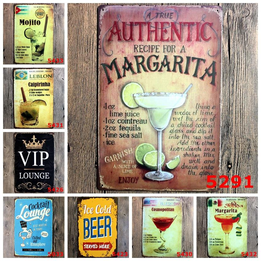 Beer Wine Cocktail Tin Sign 40 Styles Metal Plaques Vintage Bar Pub Home Wall Decor Art Craft Iron Painting Retro Plate Poster