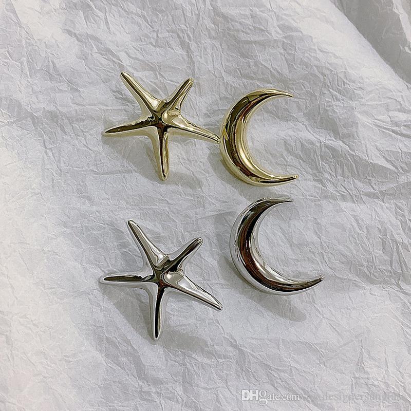Düzensiz Stil Denizyıldızı Ay Şekli Küpe Kadınlar Metal Stud Küpe Altın Gümüş Moda Takı Hediye Aksesuar