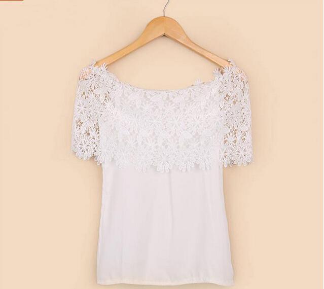Beiläufigen Sommer-Spitze T-Shirt Stück-Shirt Feminina T Shirts Slash Neck Kleidung JX0920 weg von der Schulter Tops für Frauen Mode