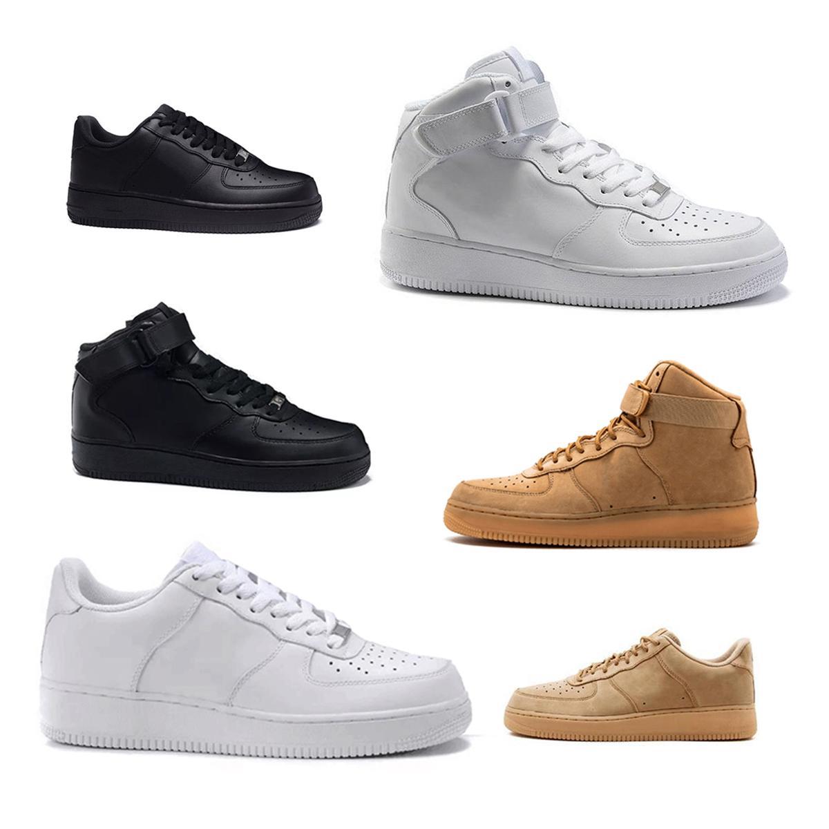 Nike Air Force one 1 AF1 أسود أبيض أحذية كرة السلة للرجال 1s المرأة أزياء الرياضة في الهواء الطلق المدربين أحذية رياضية حذاء رياضي