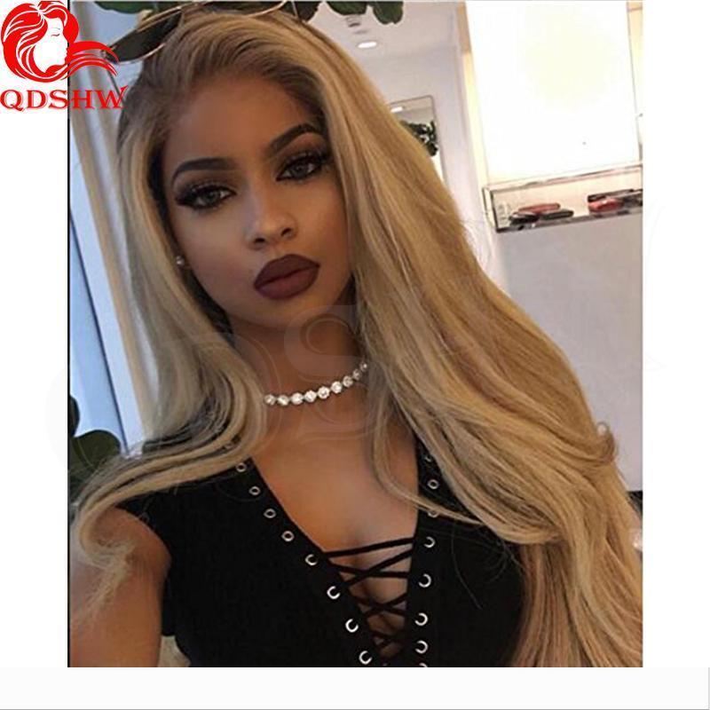 Human Blonde Hair Lace Front Wigs Ombre Dark Roots Natural Straight Virgin Brazilian Glueless Ombre 613 Blonde Full Lace wig Pre Plucked