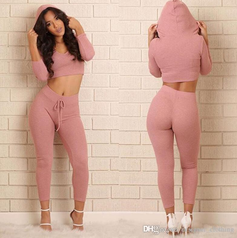 Casual sports fitness clothing suit women's Europe and the United States sexy umbilical two-piece solid color knitted slim suit