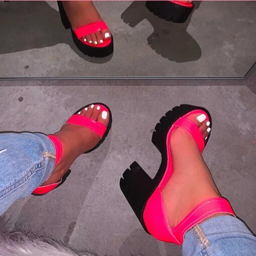 2019 summer new high-heeled fashion shoes sandals wedges leather beach sandals outdoor wild candy color slippers lady flip flop