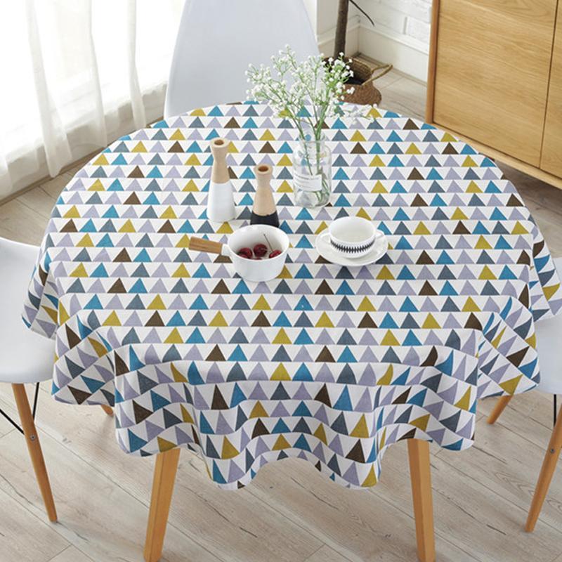 Runde Tischdecke aus Baumwolle und Leinen Ölbeständige romantische Tischdecke mit Blumendruck für den Außenbereich