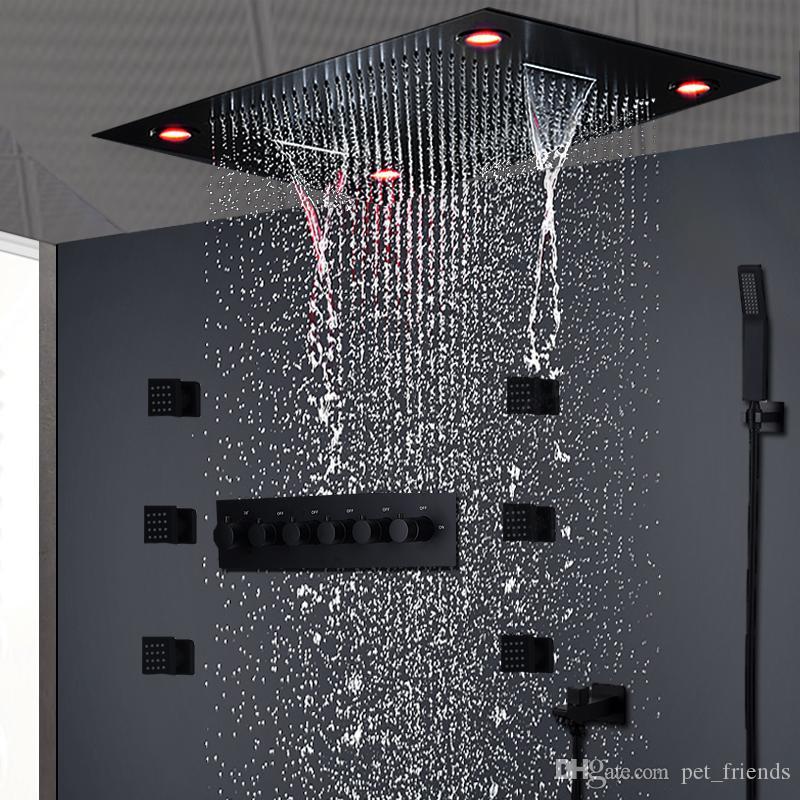 Moderna doccia nera opaca set da soffitto nascosto massaggio a soffitto grande pioggia cascata doccia pannello testa termostatico ad alto flusso doccia