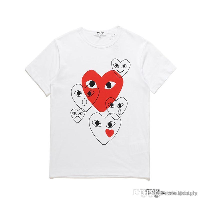 Mais novo com atacado Melhor Qualidade CDG New Mens Womens des Play 1 CDG Heart Basic Tee Manga Curta T-shirts