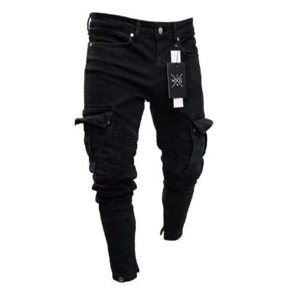 Zipper Holes Herren Designer Jeans Schwarz Ripped Distressed Solid Color Bleistift Jean-Bleistift-Hosen Taschen Hommes Pantalones