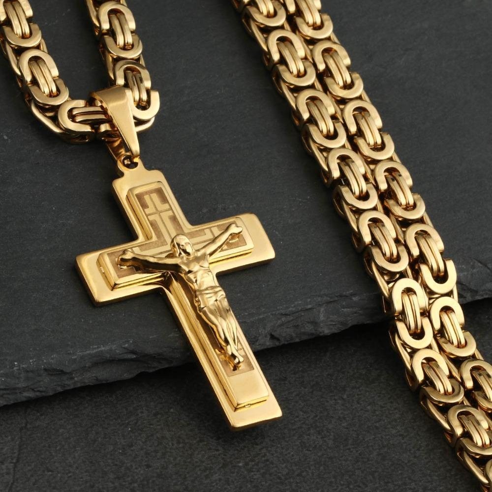 남성의 스테인레스 스틸 예수 그리스도의 거룩한 십자가 십자가 펜던트 목걸이 가톨릭 롱 체인 목걸이 소년 선물 보석 NC011