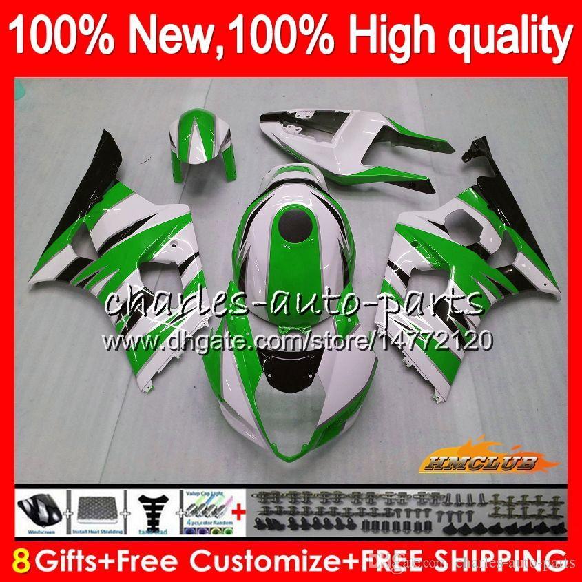 Корпус OEM для Kawasaki ZX 636 6 R 600CC ZX600 600 CC ZX636 36HC.1AA ZX 6R 03 04 ZX-636 Зеленый белый ZX-600 ZX6R 03 04 ZX-6R 2003 2004