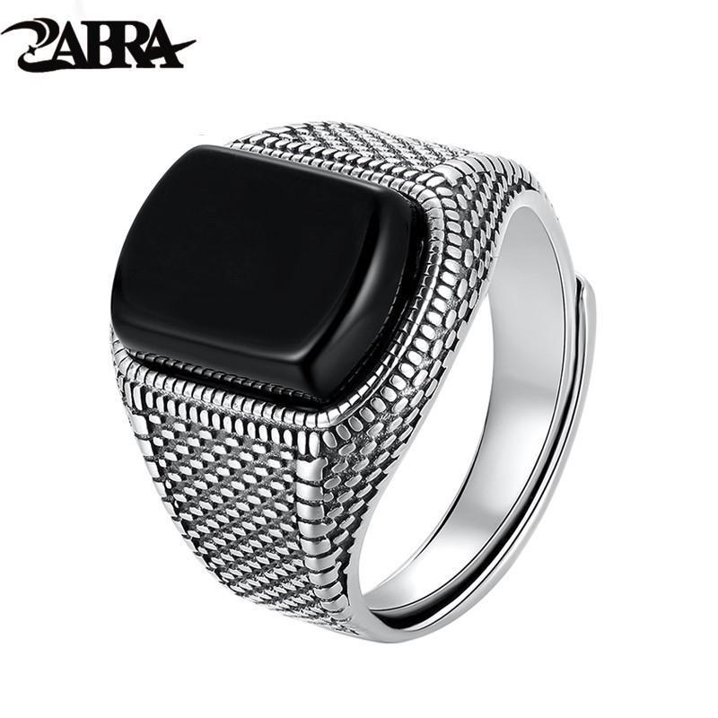 ZABRA Noir Stone Ring Les vrais hommes Argent 925 Vintage Taille ouverte mariage Femmes Hommes Anneaux Zircon bijoux que Onyx