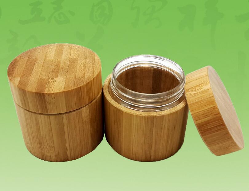 50 adet 50 g bambu Krem Kavanozlar 50 mi bambu kozmetik kavanoz kalay kap paketi şişe Cam tankı yeni