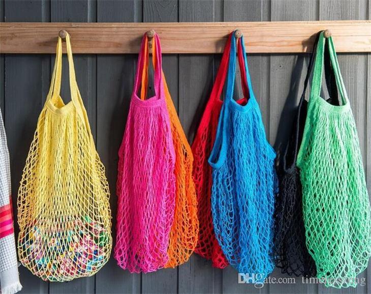Acquisto riutilizzabile del sacchetto di drogheria 14 colori Large Size Shopper Tote della rete della maglia tessuto Borse di Portable Shopping Bags dirigono il sacchetto