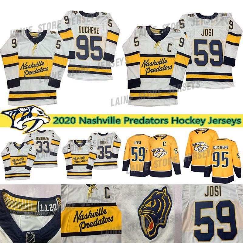 Nashville Predators 95 Mat Duchene 59 Roman Josi 92 Ryan Johansen 9 Forsberg 35 Pekka Rinne Yetişkin Boyut S-3XL Tüm Stitche Hokeyi Formalar